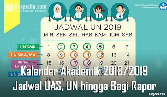 Lengkap - Kalender Akademik 2018/2019 - Jadwal Uas, Un Sampai Bagi Rapor Sekolah