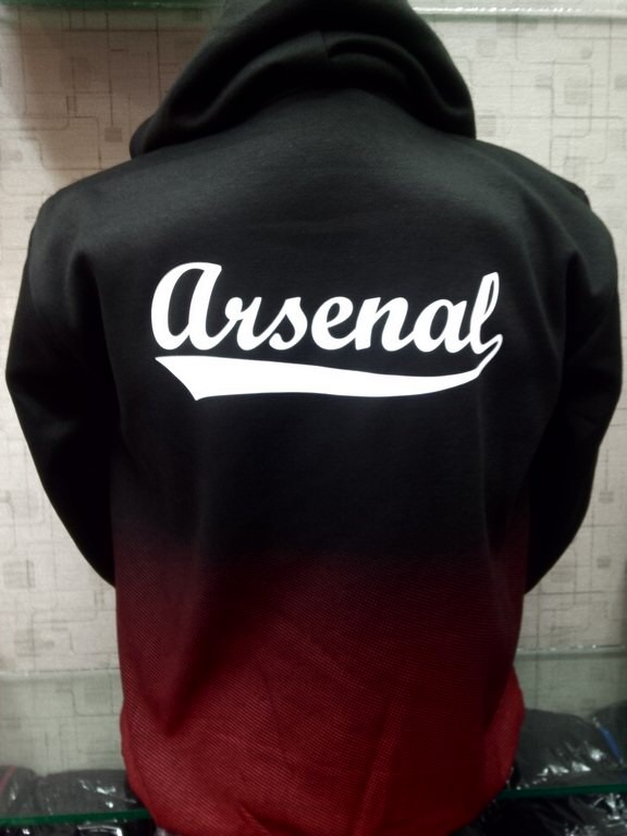 Jaket Hoodie Arsenal Hitam Gradasi Merah