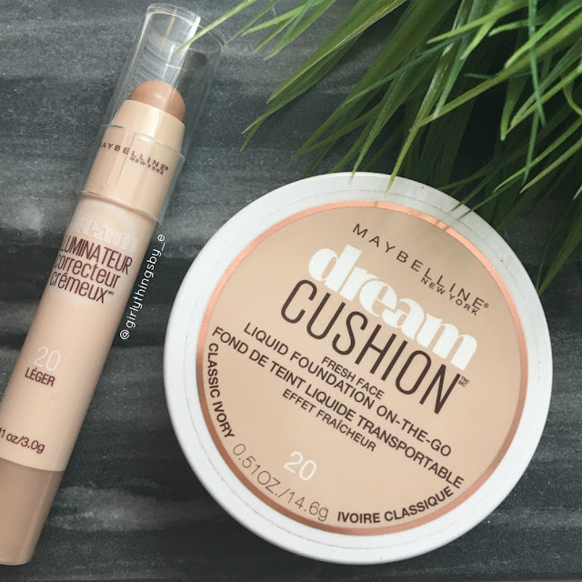 Maybelline Dream Cushion foundation and Brightening Creamy concealer review, @girlythingsby_e