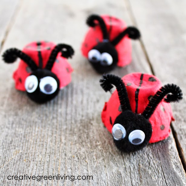 recycled egg carton craft idea - make egg cartons into ladybugs