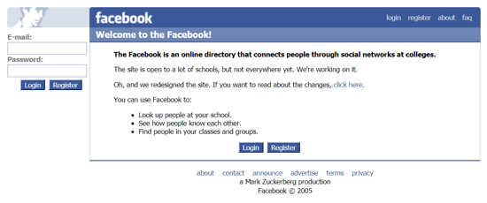 Facebook home page 2005