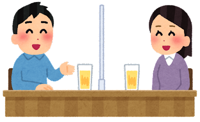 飲み会のイラスト(アクリル板・男女)