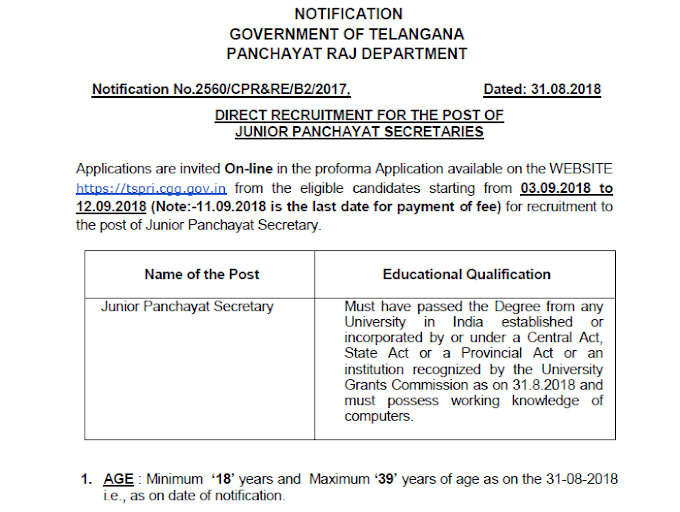 Telangana Panchayati Raj Recruitment 2018 | 9355 vacancies of Secretary - Apply Now