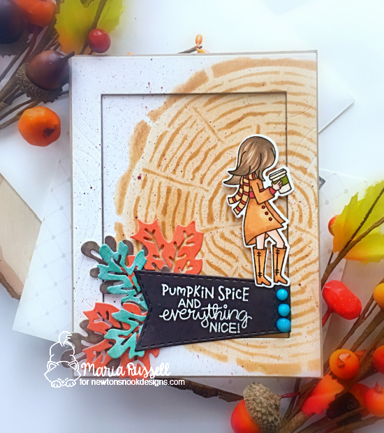 Pumpkin Spice Coffee Card by Maria Russell | Pumpkin Latte Stamp Set, Tree Rings Stencil and Autumn Leaves Die Set by Newton's Nook Designs #newtonsnook #handmade