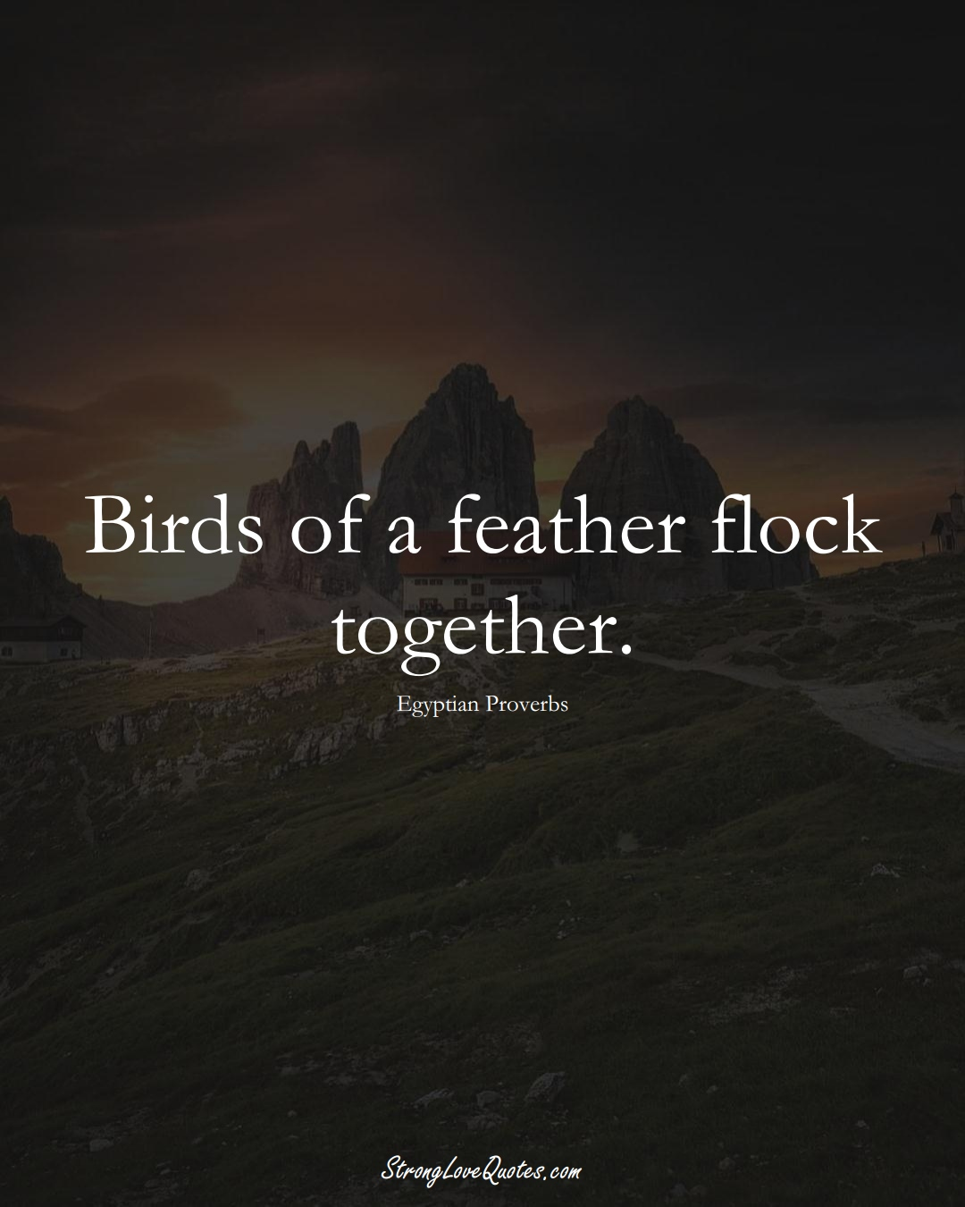 Birds of a feather flock together. (Egyptian Sayings);  #MiddleEasternSayings