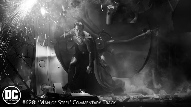 Superman (Henry Cavill stands against a destroyed bank vault. Text: DC on SCREEN # 628: Man of Steel Commentary Track