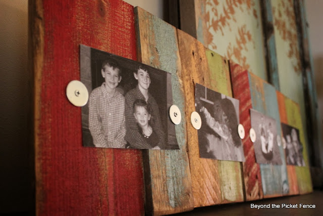 pallets, scrap wood, photo display, colorful paint, frame, DIY, http://goo.gl/mHMD53