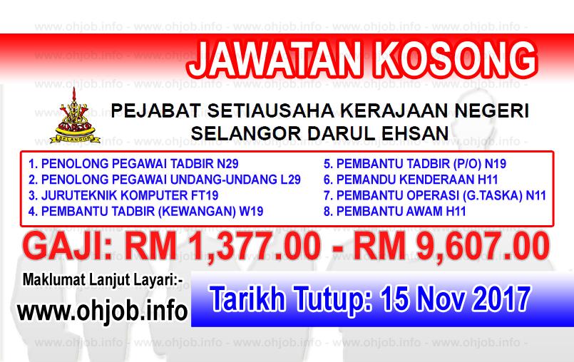 Jawatan Kerja Kosong Kerajaan Negeri Selangor logo www.ohjob.info november 2017