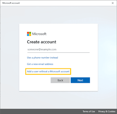 Add a user without a Microsft account Windows 10