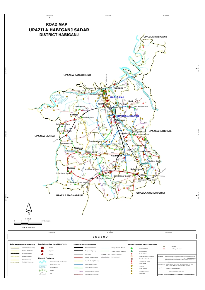 Habiganj Sadar Upazila Road Map Habiganj District Bangladesh