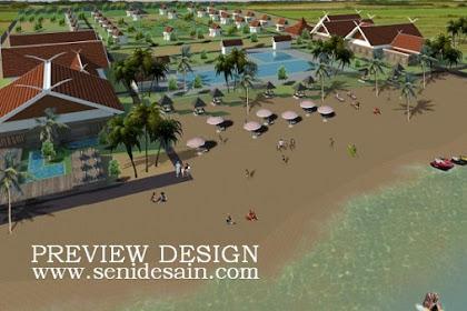 Design resort luas nuansa asri pasir air laut pantai