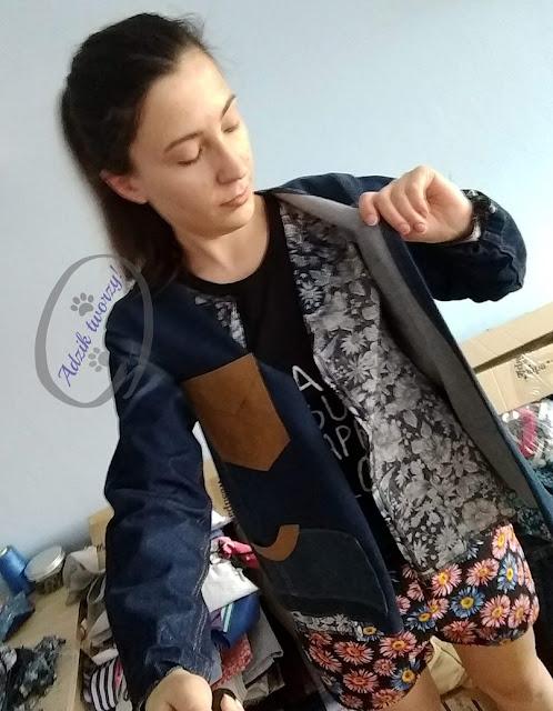 kurtka jeansowa DIY ze spodni jak uszyć