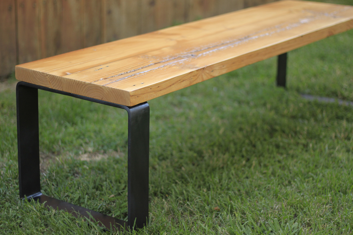 Reclaimed Wood Bench With Metal Base