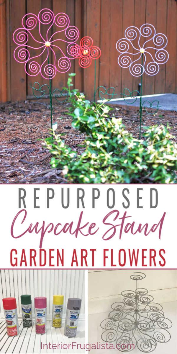 Repurposed Cupcake Stand Garden Art Flowers