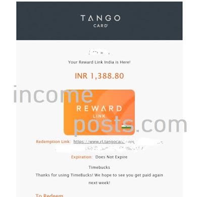 Tango Card Timebucks Payment proof