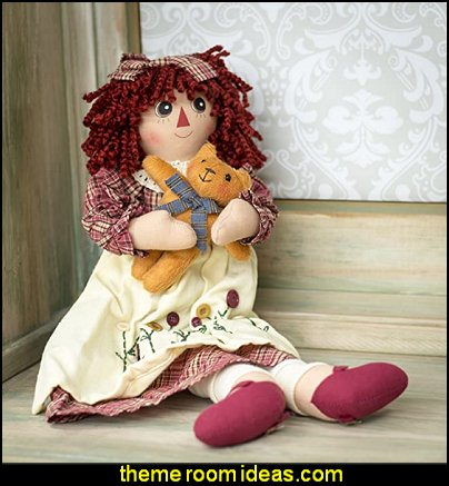 Raggedy with Kitty Cat Plush  aericana decor primitive style decorating
