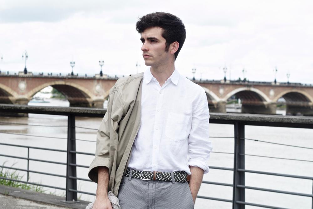 chemise en lin pur blanc pantalon pied de poule BLOG_MODE_HOMME_STYLE_MASCULIN_CASUAL-CHIC-MENSWEAR_edwardson-lunettes-somewhere-paris-chemise-en-lin-blanche-bordeaux-paris-france - 6