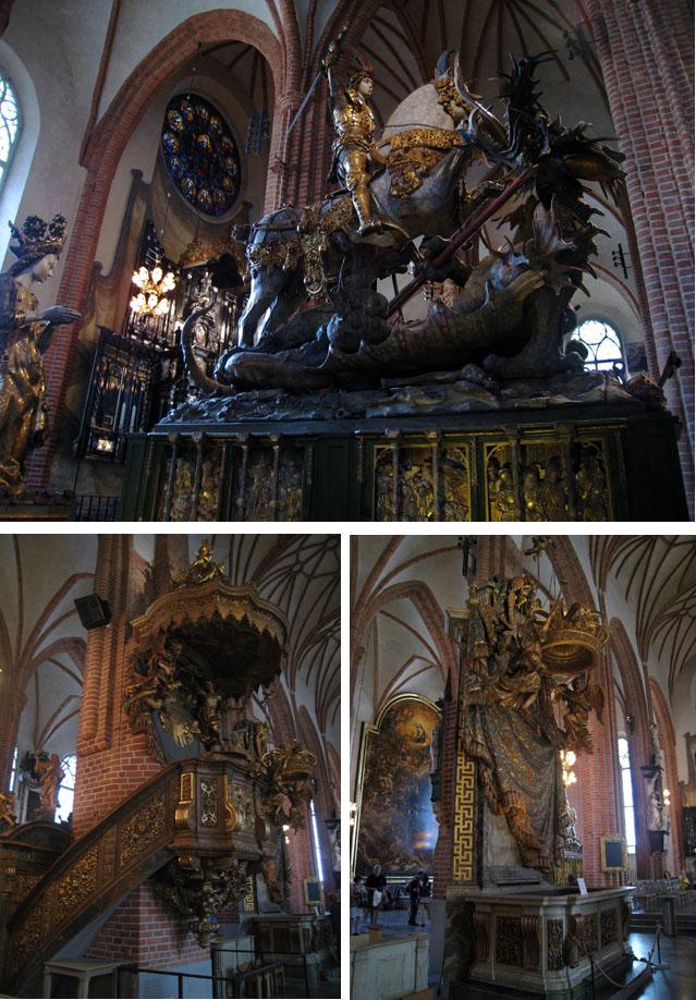 San Jorge y el Dragón (arriba), y el púlpito y los asientos reales (abajo, izda. y dcha.)