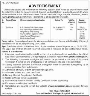 GMCH ASSAM Staff Nurse 300 Govt Jobs Online-Gauhati Medical College Hospital Recruitment Notification 2020