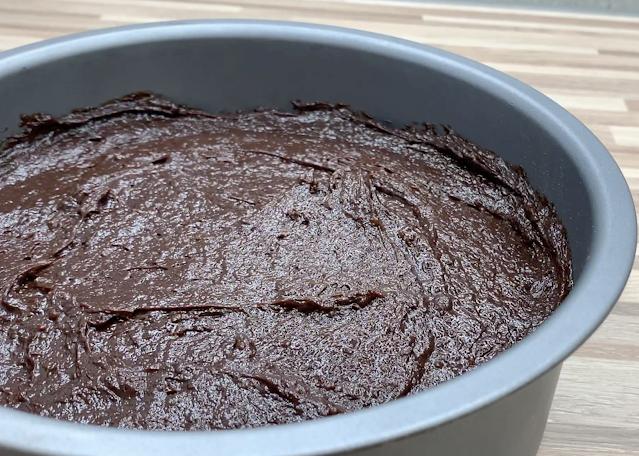 chocolate in cake pan