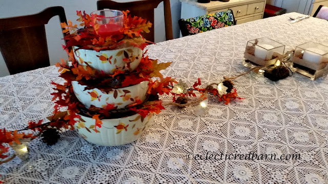 Vintage Bowls as Centerpiece. Share NOW. #centerpiece #decorating #thanksgiving #eclecticredbarn