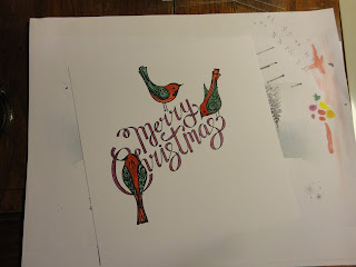 Merry Christmas plum ribbon writing with red and green birds