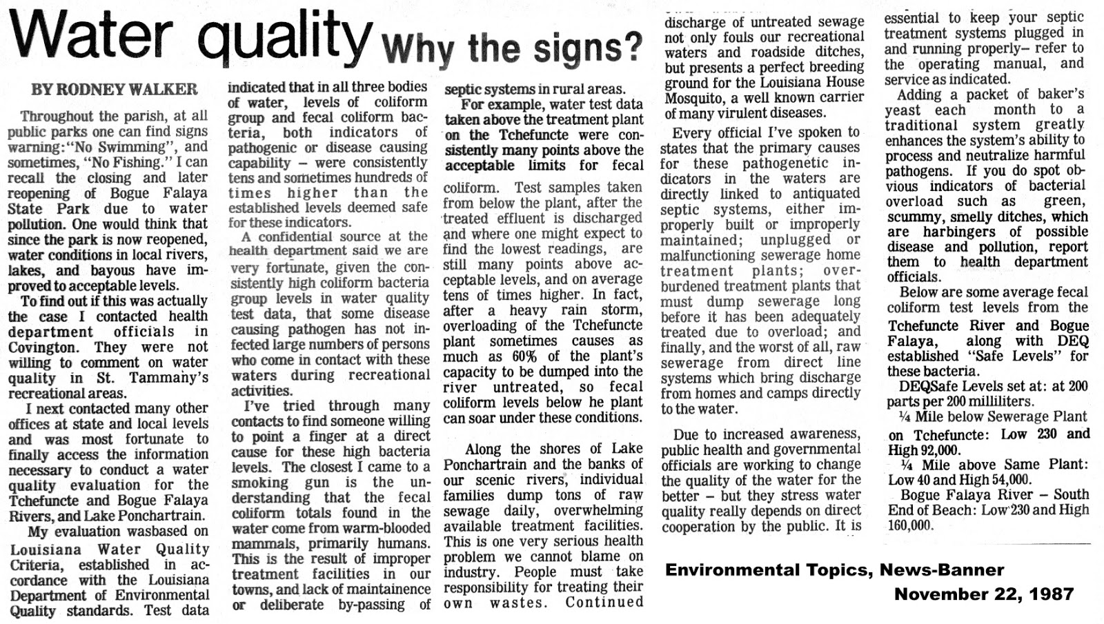 This Article About Water Quality Concerns In St Tammany Parish Appeared A 1987 Special Section On The Environment Published By