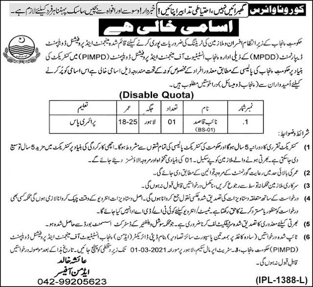Punjab Institute of Management & Professional Development PIMPD Job 2021