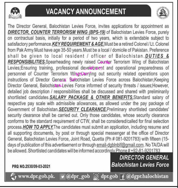 Intelligence Jobs 2021 - Counter-terrorism and intelligence wing levies force jobs 2021
