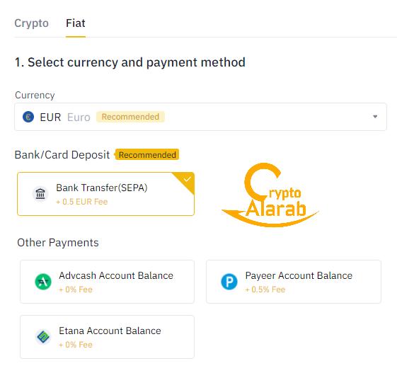 طرق شراء العملات الرقمية المشفرة بالعملات الورقية في منصة بينانس binance