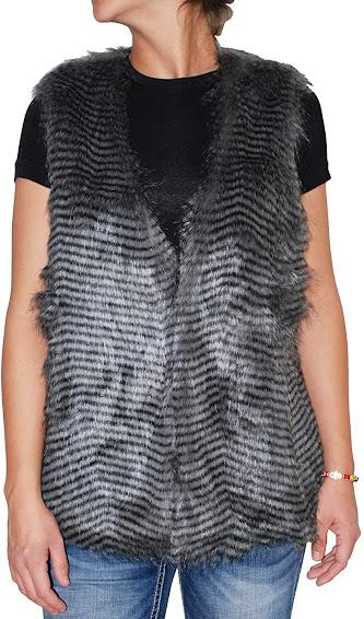 Cute Grey Faux Fur Vest Sleeveless Waistcoat Jacket For Women