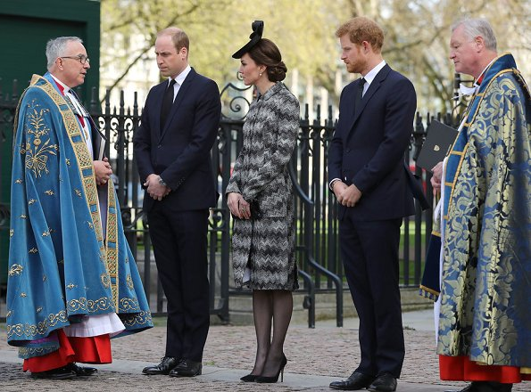 Duchess Catherine, Prince William and Prince Harry attend Service of Hope. Kate Middleton wore Missoni Long Snake Stitch Coat