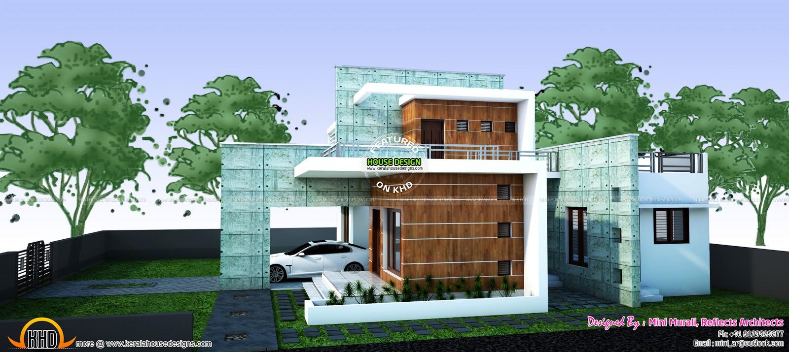 Contemporary house plan by ar mini murali kerala home for Mini casas modernas