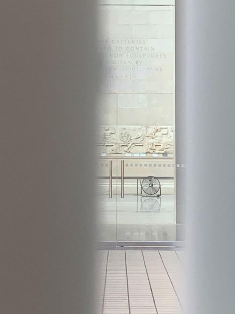 Heavy rain floods British Museum, Parthenon Marbles Gallery