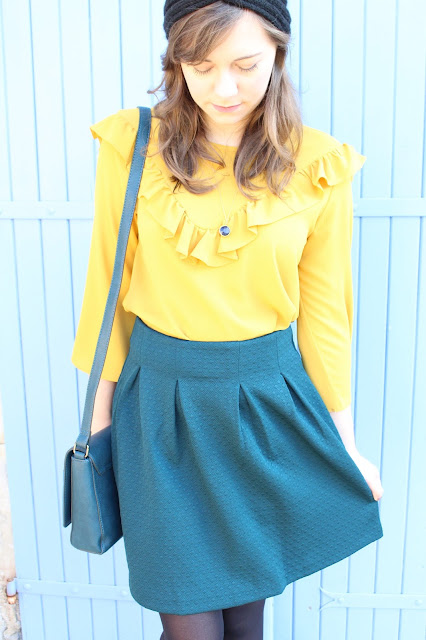 green & mustard outfit