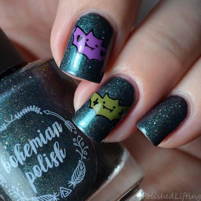 cute halloween bat nail art