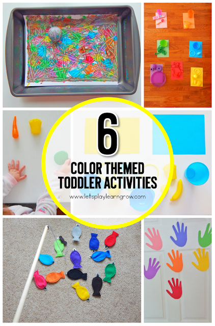 Children learn best through play. Check out these 6 colored themed learning activities for toddlers and preschoolers as well as some addition color themed tot trays.