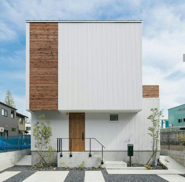 House Facade with Wooden Accents
