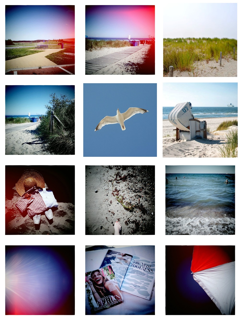 Some more photos in style of old Polaroid Snap Instant photos of warnemuende and beach, beachimpressions