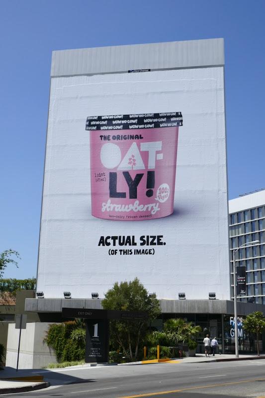 Giant Oatly Strawberry Frozen Dessert billboard