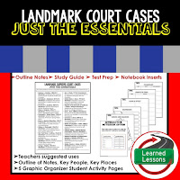 Landmark Supreme Court Cases Outline Notes, Civics Test Prep, Civics Test Review,Civics Study Guide, Civics Summer School Outline, Civics Unit Reviews, Civics Interactive Notebook Inserts