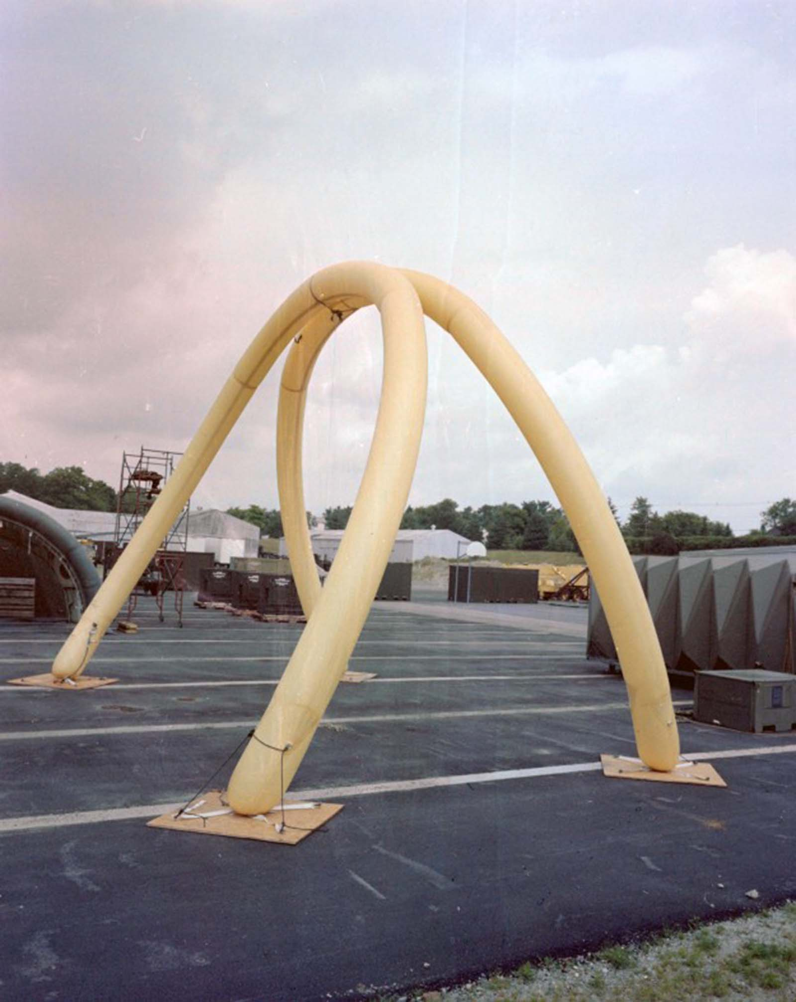 Inflatable arches for temporary shelter, 1979.