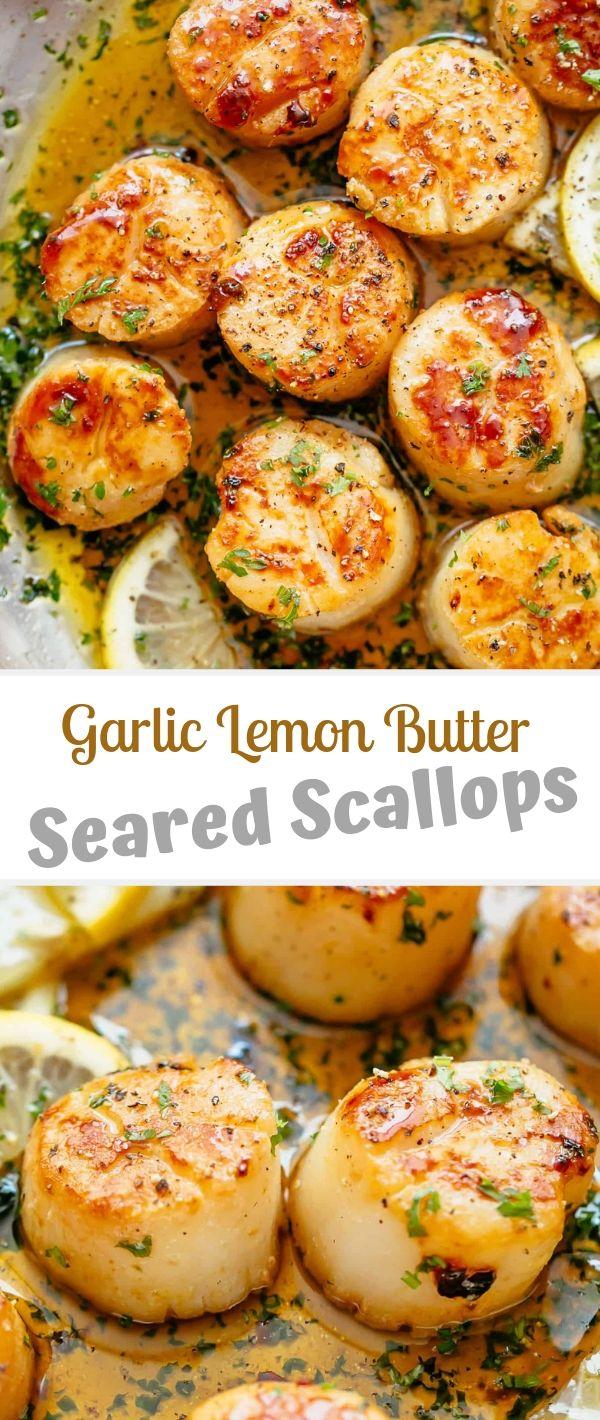 Garlic Lemon Butter Seared Scallops #Garlic #Lemon #Butter #Seared #Scallops Seafood Recipes Healthy, Seafood Recipes For Dinner, Seafood Recipes Easy,