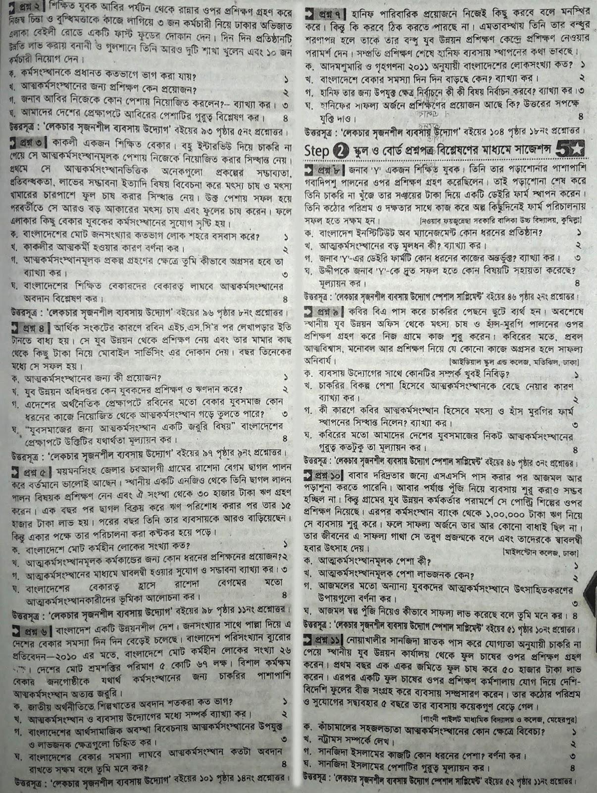 এস এস সি ব্যবসায় উদ্যোগ সাজেশন ২০২০ | এস এস সি ব্যবসায় উদ্যোগ প্রশ্ন ২০২০