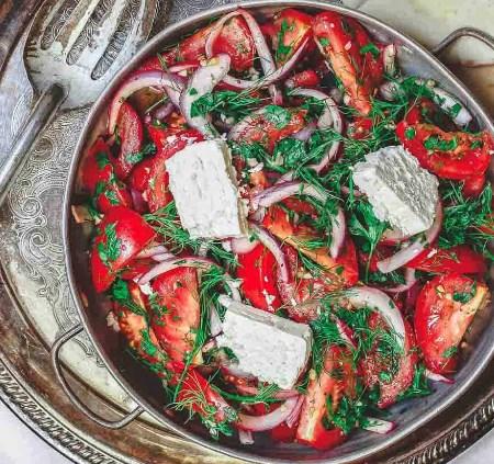 Mediterranean Tomato Salad with Herbs and Feta #vegetarian #diet