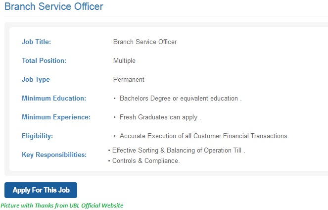 UBL Jobs 2020 - Latest Jobs in UBL 2020 All Over Pakistan on Graduation Basis