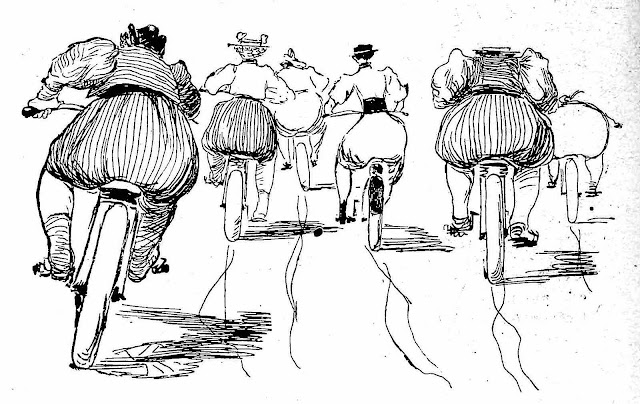 a Jean Veber drawing for a comedy publication, 1895 women bicyclists