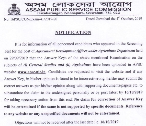 APSC Official Answer Key 2019 Notice