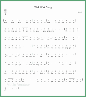 not angka lagu wak wak gung lagu daerah jakarta