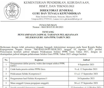 Jadwal Ujian PPPK Guru 2021